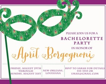 New Orleans Bachelorette Party Invitation   Mardi Gras   Bridal Shower   Mardi Gras Mask   Bourbon Street -FREE SHIPPING or DIY printable