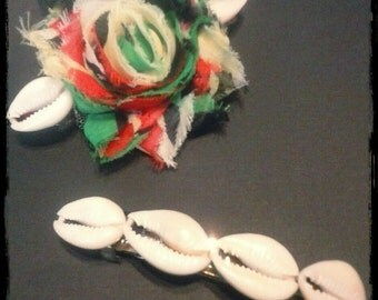 MADE TO ORDER Rasta Inspired Hair Clip/Cowry Shell Clip
