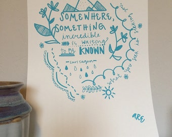 Adventure Screenprint, wall art, Carl Sagan quote