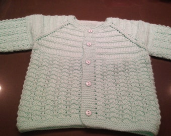 Green Baby Sweater/Cardigan, hand made