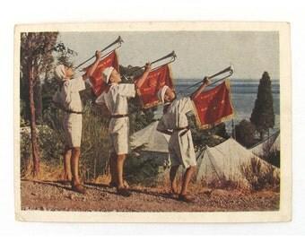 Pioneers, Artek, Used Postcard, Soviet Union Vintage Postcard,  1954, USSR