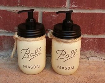 Mason Jar Soap Dispenser Set. Mason Jar. Painted. Rustic Home Decor. Farmhouse Decor. Rustic. Soap. Soap Dispenser. Jars. Painted Jar