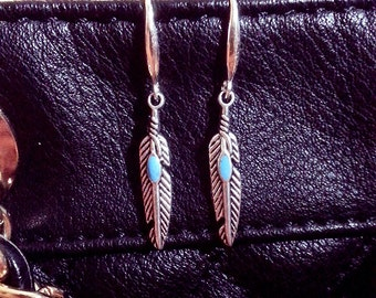 925 Sterling Silver plated Turquoise Blue Bird Feather Earrings!
