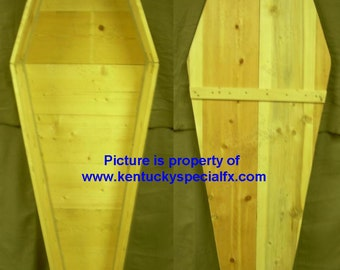 Real Wood Theatrical Coffin Toe Pincher Casket Old West Funeral Halloween Prop Pine Box