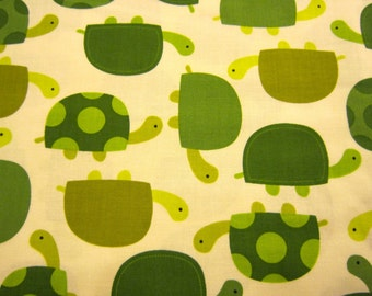 Children's Green Turtle Cotton Fabric on Cream Background by Robert Kaufman Urban Zoologie by Anne Kelle