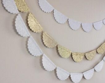 Scalloped Glitter Garland - Christmas Garland - Garland Backdrop - Gold Glitter Garland - White Glitter Garland - Silver Glitter Garland
