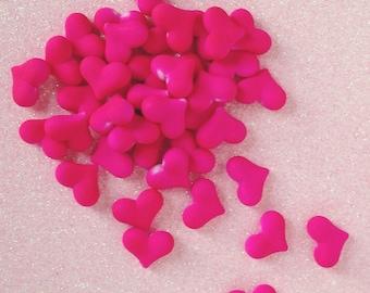 22mm Heart Shaped Hot Pink Kawaii Rubberized Beads - 10 piece set