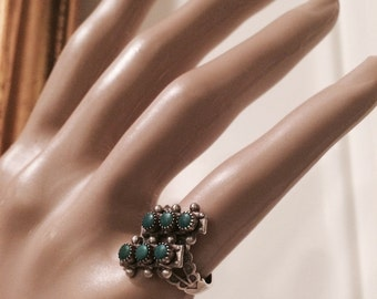 1950's Size 5.5 Zuni Green Turquoise Stamped Sterling Old Dead Pawn Ring