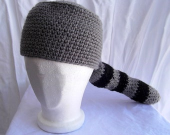 Crochet Coon Hat with Tail