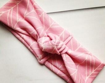 Baby Turban knot headband, baby knot headband, modern pink abstract feather headband
