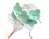 Mint Hydrangea -  Floral accessories - Hydrangea accessories Wedding Hair Accessories, Wedding Hairstyles Hair Flower - Set of