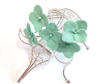 Mint Hydrangea -  Floral accessories - Hydrangea accessories Wedding Hair Accessories, Wedding Hairstyles Hair Flower - Set of