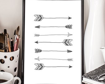 Tribal Arrows, Direction, Aztec, Art Print, Giclee, illustration
