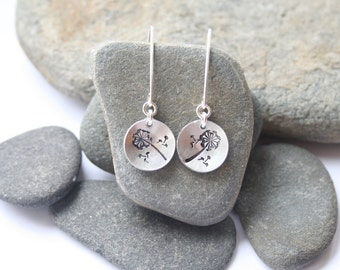 Hand stamped earrings, silver earrings, stocking filler, dandelion earrings, dangle earrings, nature lover gift, Mother's day gift