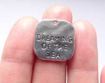 6 Dreaming Of The Sea Charms Antique Silver 19 x 20mm - SC081