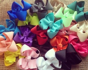 4 inch boutique hair bows, set of 5 boutique bows, 4 inch bows, boutique bows,  YOU CHOOSE COLORS
