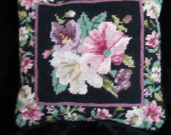 Beaded Needlepoint Decorative Pillow