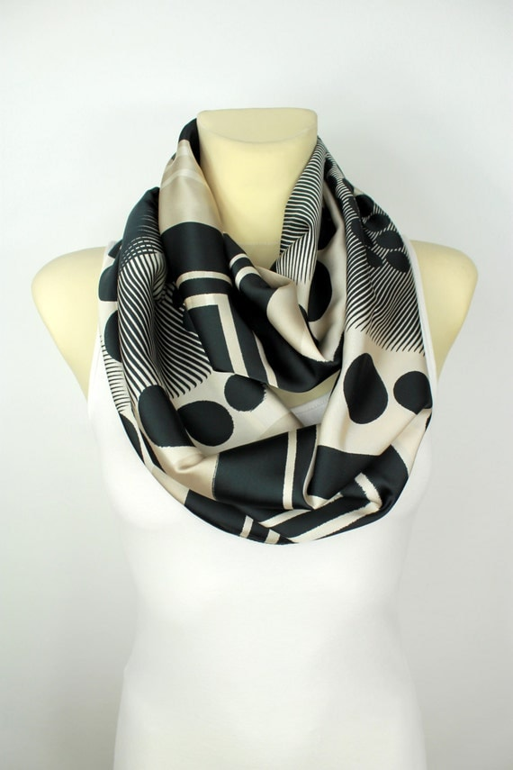 Oatmeal Autumn Infinity Scarf Womens Scarves Unique Handmade Scarves Satin Silk Scarf Gift for Her Gift Womens Summer Outdoors Summer Party