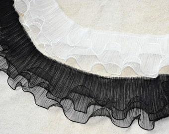 L278 12cm Wide 3 Layers Antique Gauze Ruffle Pleated Lace Trim 4meters/lot