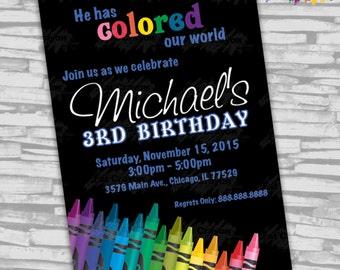 "Blue Crayon Birthday Invitation - 5"" x 7"" - Digital File"