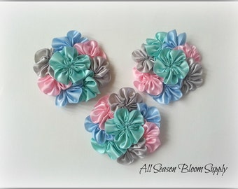 "Cluster Flowers, Satin Ribbon Flowers, LightPink/Grey/Mint/Blue Flowers, 3.2""-3.5"" , DIY, Headbands, Accessories, HairBows"