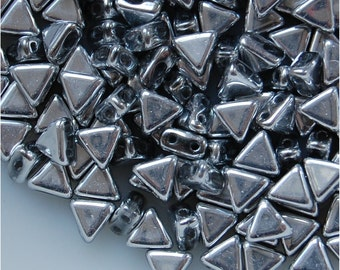 KHÉOPS® Par Puca ® Beads, 2 Hole, 6mm, Argentees Silver, sold in units of approx 10gms.