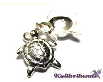 2x Turtle Charm 15 mm - Silver plated