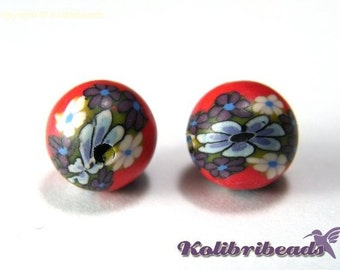 20x Round Polymer Clay Beads 10 mm - Red with Flowers
