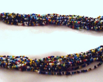 Vintage Multicolor Glass Seed Bead Torsade Necklace Choker