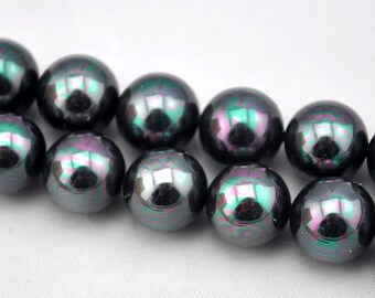 1 Strand 33pcs 12mm Freshwater Pearl,Black Pearl Beads,12mm Pearl,Shell pearl has,Gemstone Beads--- J0101