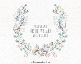 Floral wreath: Hand drawn floral wreath clipart / Wedding invitation clip art / commercial use / PNG and Vector / CM0062w1