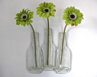 Glass Vase Recycled Bottle Vase Triple Flower Vase Eco Gift, Free Postage to UK