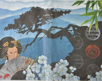 Paper for decoupage - picture for decoupage - rice paper for decoupage - decorative paper - Japanese woman geisha, Japan,  RNK131