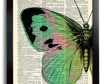 Butterflies Butterfly Art Print Vintage Book Print Recycled Vintage Dictionary Page Collage Repurposed Book Upcycled Dictionary 405