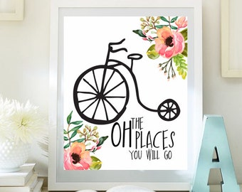 Watercolor prints, the places you'll go, baby girl decor, motivational art, typographic quote, Baby girl art,  print bikes, digital 63-65