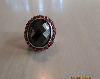 Black and Red Ring set in Sterling Silver Size 8