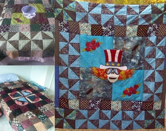 Custom Made To Order Large Grateful Dead Patchwork and Crochet Quilts