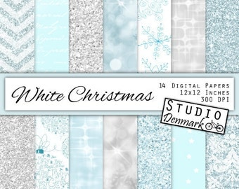 White Christmas Digital Paper - White and Frozen Blue Snowflakes / Snow / Glitter / Chevron / Damask / Script / Bokeh - Instant Download