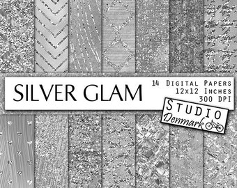 Silver Glam Textures - Luxe Silver Digital Paper - Fashion Silver Glitter Patterns - Commercial Use Foil Backgrounds - Instant Download