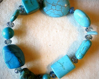 Turquoise bracelet with gem accents