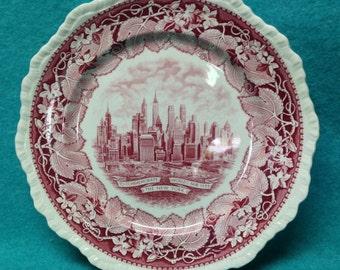 1939 New York World's Fair Souvenir Plate New York Skyline Mason England