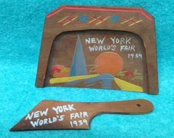 1939 New York World's Fair Table Crumber Set Painted Balsa Wood
