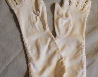 Beautiful Vintage White Ladies'  or Child's Evening Gloves, 1950s or 60s