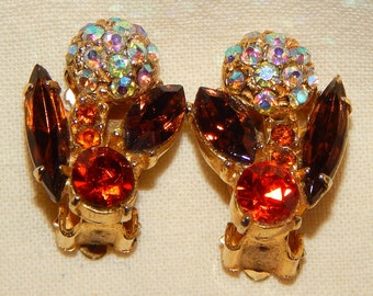 Beautiful Vintage Clip Earrings - Autumn Colors