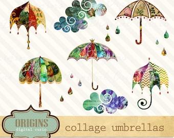 Collage Scrapbook Umbrellas and Parasols Clip art, Rainy Day PNG Clipart Set, Umbrella Clipart instant download commercial use