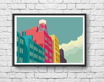 Poster Water Tower + Building in New York City