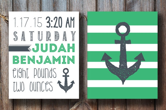 Custom Nursery Art - Birth Subway Print - Anchor Art Print - Instant Download - Printable