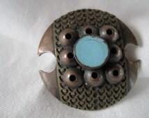 Vintage Pentti Sarpaneva Bronze and Enamel Brooch/Pin -- VT80