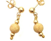 Ball Earrings w/ Gold Stardust Beads in 14k Gold Fill Post - 402