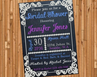 Chalkboard Printable Bridal Shower Invite (Many Colors Available!)
